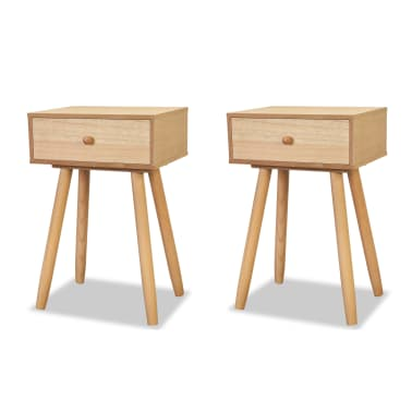vidaXL Table de chevet 2 pcs Bois de pin massif 40 x 30 x 61 cm Marron[2/8]
