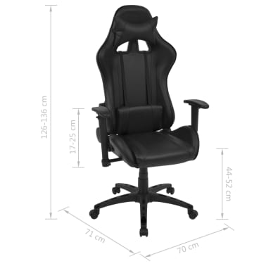vidaxl neigbarer racing b rostuhl kunstleder schwarz g nstig kaufen. Black Bedroom Furniture Sets. Home Design Ideas