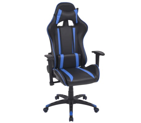 vidaXL Silla de escritorio Racing reclinable de cuero artificial azul