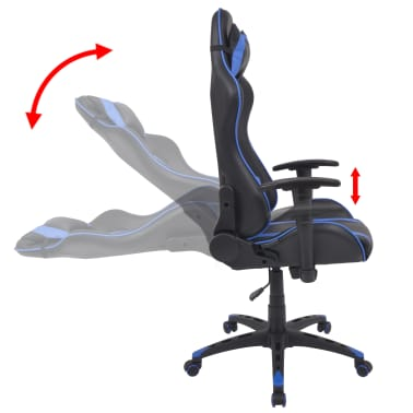vidaXL Chaise de bureau inclinable Cuir artificiel Bleu[3/6]