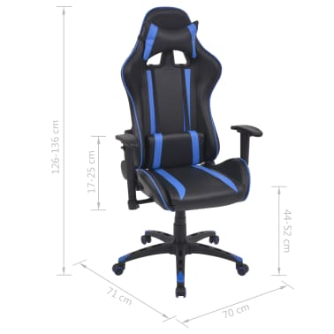 vidaXL Chaise de bureau inclinable Cuir artificiel Bleu[6/6]