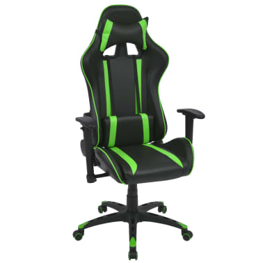 vidaXL Silla de escritorio Racing reclinable de cuero artificial verde[1/6]