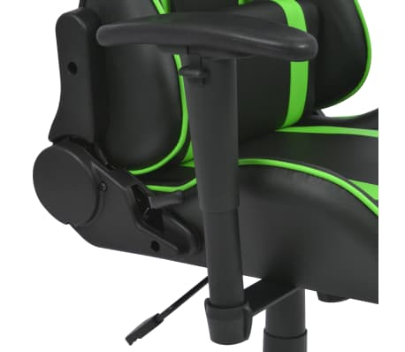 vidaXL Silla de escritorio Racing reclinable de cuero artificial verde[4/6]