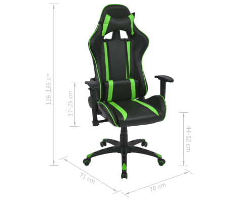 vidaXL Silla de escritorio Racing reclinable de cuero artificial verde[6/6]