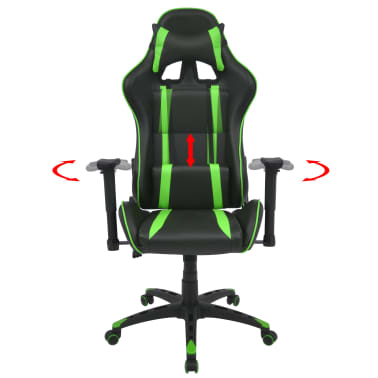 vidaXL Silla de escritorio Racing reclinable de cuero artificial verde[2/6]