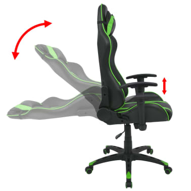 vidaXL Silla de escritorio Racing reclinable de cuero artificial verde[3/6]