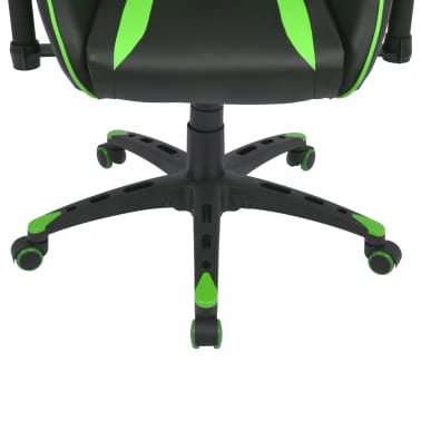 vidaXL Silla de escritorio Racing reclinable de cuero artificial verde[5/6]