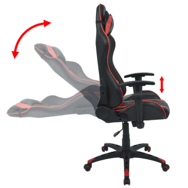 vidaXL Silla de escritorio Racing reclinable de cuero artificial roja[3/6]