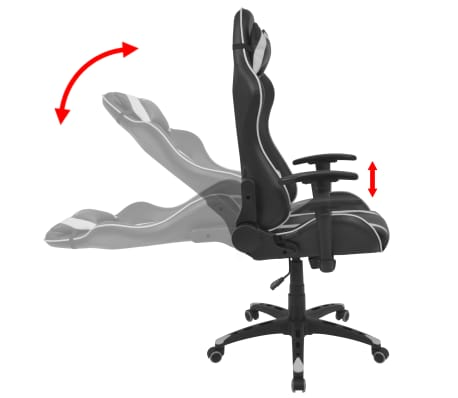 vidaXL Chaise de bureau inclinable Cuir artificiel Blanc[3/6]
