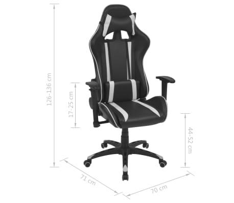 vidaXL Chaise de bureau inclinable Cuir artificiel Blanc[6/6]