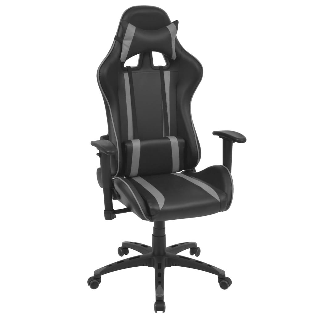 vidaXL Polohovatelné kancelářské / herní křeslo, umělá kůže, šedá