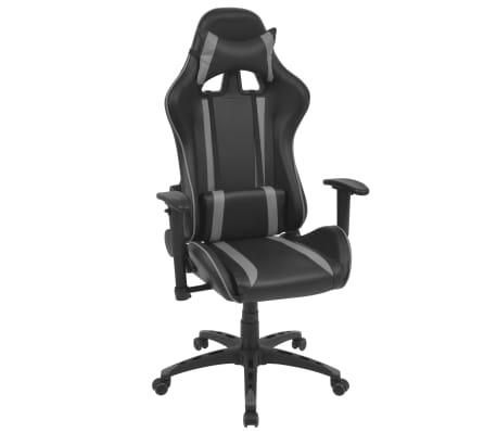 vidaXL Silla de escritorio Racing reclinable de cuero artificial gris[1/6]