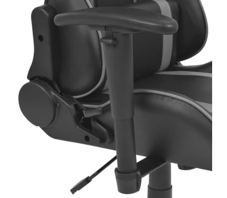 vidaXL Silla de escritorio Racing reclinable de cuero artificial gris[4/6]