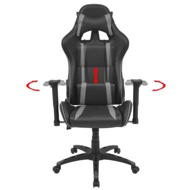vidaXL Silla de escritorio Racing reclinable de cuero artificial gris[2/6]