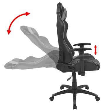 vidaXL Silla de escritorio Racing reclinable de cuero artificial gris[3/6]