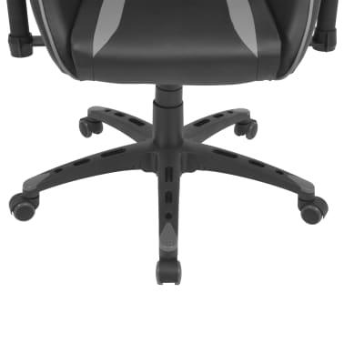 vidaXL Silla de escritorio Racing reclinable de cuero artificial gris[5/6]