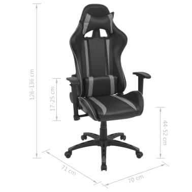 vidaXL Silla de escritorio Racing reclinable de cuero artificial gris[6/6]