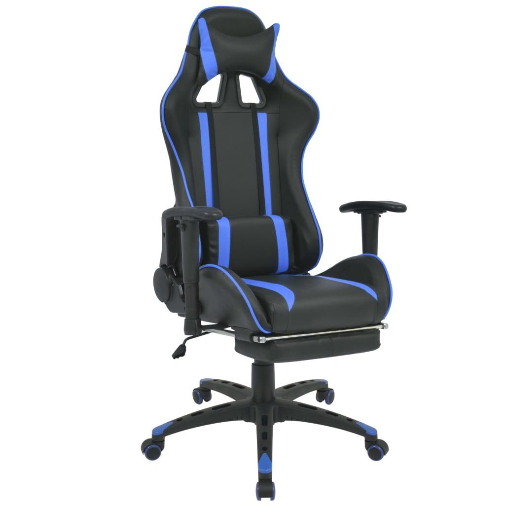 Afbeelding van vidaXL Bureau-/gamestoel verstelbaar met voetensteun blauw