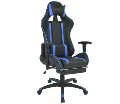 vidaXL Regulowane krzesło biurowe z podnóżkiem, niebieskie[1/7]