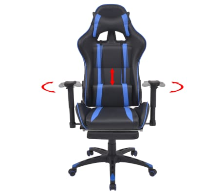 vidaXL Regulowane krzesło biurowe z podnóżkiem, niebieskie[2/7]