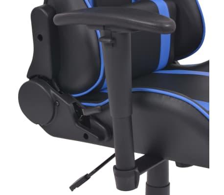 vidaXL Regulowane krzesło biurowe z podnóżkiem, niebieskie[4/7]