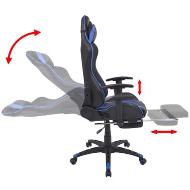 vidaXL Regulowane krzesło biurowe z podnóżkiem, niebieskie[3/7]