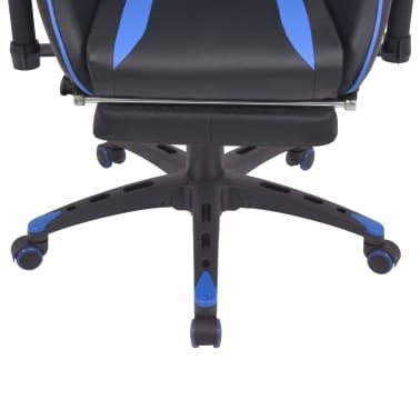 vidaXL Regulowane krzesło biurowe z podnóżkiem, niebieskie[5/7]
