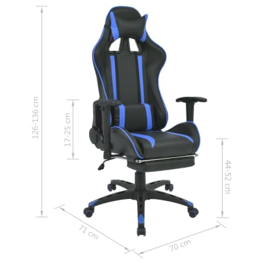 vidaXL Regulowane krzesło biurowe z podnóżkiem, niebieskie[7/7]