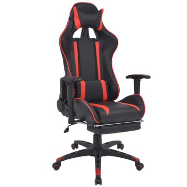 vidaXL Atlošiama biuro/žaidimų kėdė su atrama kojoms, raudona[1/7]