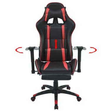 vidaXL Atlošiama biuro/žaidimų kėdė su atrama kojoms, raudona[2/7]