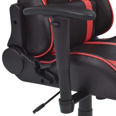 vidaXL Atlošiama biuro/žaidimų kėdė su atrama kojoms, raudona[4/7]