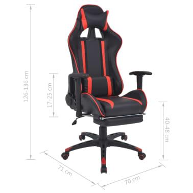 vidaXL Atlošiama biuro/žaidimų kėdė su atrama kojoms, raudona[7/7]