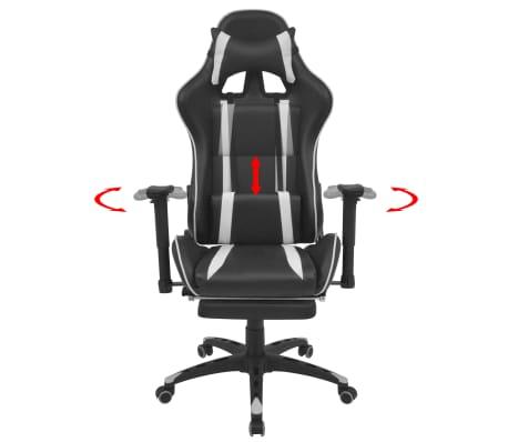 vidaXL Regulowane krzesło biurowe z podnóżkiem, białe[2/7]