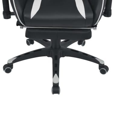 vidaXL Regulowane krzesło biurowe z podnóżkiem, białe[5/7]
