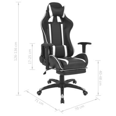 vidaXL Regulowane krzesło biurowe z podnóżkiem, białe[7/7]
