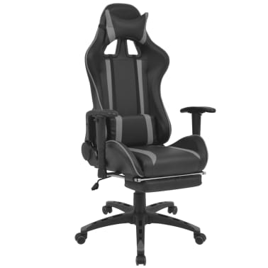 vidaXL Atlošiama biuro/žaidimų kėdė su atrama kojoms, pilka[1/7]