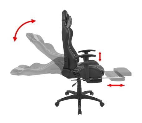 vidaXL Atlošiama biuro/žaidimų kėdė su atrama kojoms, pilka[3/7]