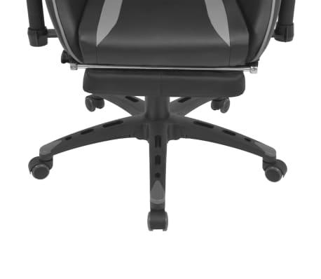 vidaXL Atlošiama biuro/žaidimų kėdė su atrama kojoms, pilka[5/7]