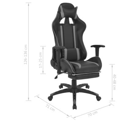vidaXL Atlošiama biuro/žaidimų kėdė su atrama kojoms, pilka[7/7]