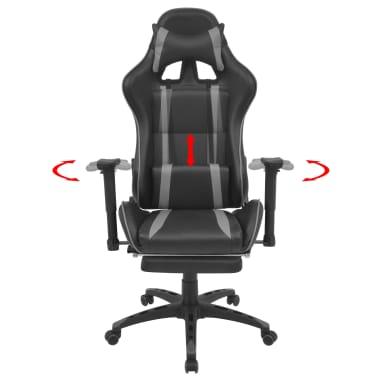 vidaXL Atlošiama biuro/žaidimų kėdė su atrama kojoms, pilka[2/7]