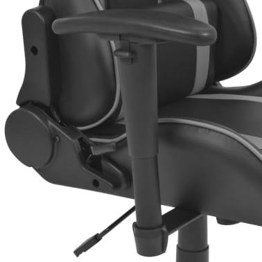 vidaXL Atlošiama biuro/žaidimų kėdė su atrama kojoms, pilka[4/7]