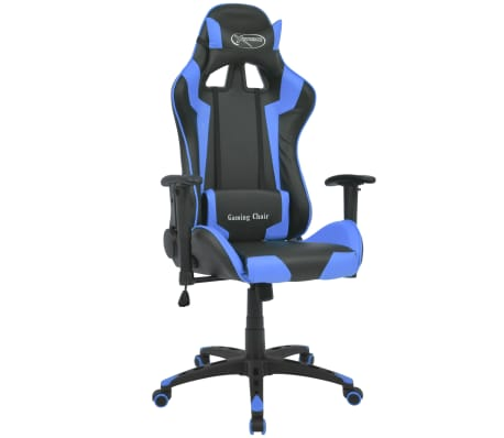 vidaXL Reclining Office Racing Chair Artificial Leather Blue