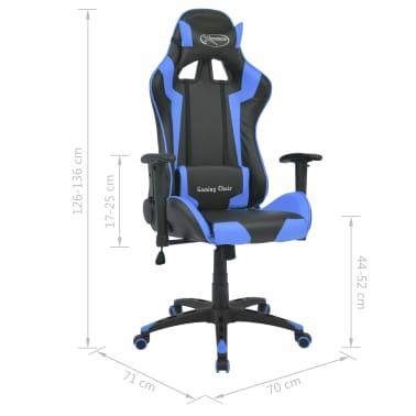 vidaXL Reclining Office Racing Chair Artificial Leather Blue[6/6]