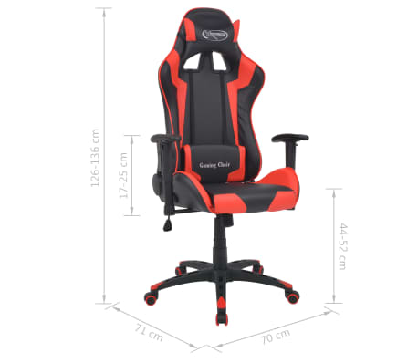 vidaXL Reclining Office Racing Chair Artificial Leather Red[6/6]