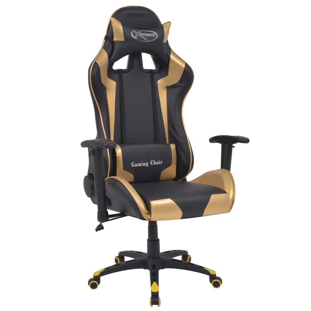 vidaXL Polohovatelné kancelářské / herní křeslo, umělá kůže, zlatá