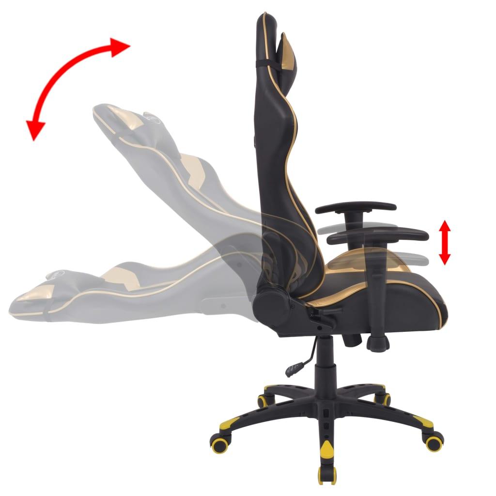 Polohovatelné kancelářské / herní křeslo, umělá kůže, zlatá