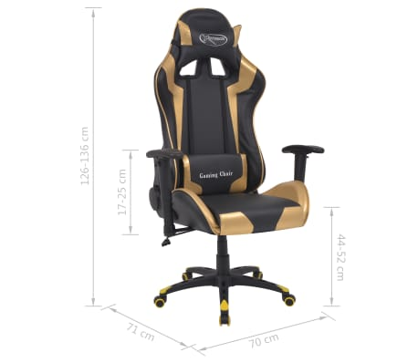 vidaXL Chaise de bureau inclinable Cuir artificiel Doré[6/6]