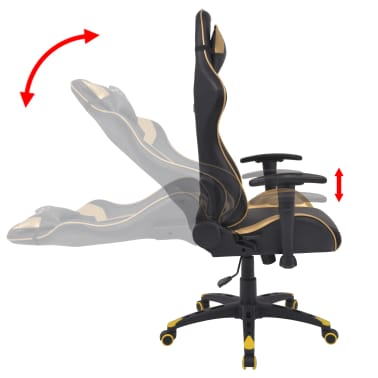 vidaXL Chaise de bureau inclinable Cuir artificiel Doré[3/6]