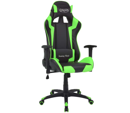 vidaXL Silla de escritorio reclinable Racing de cuero artificial verde[1/6]