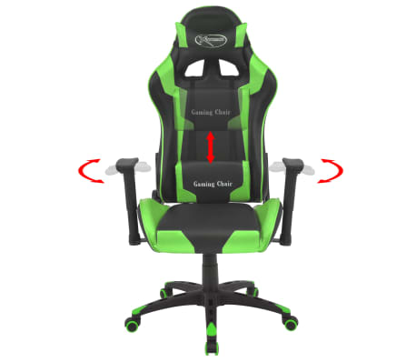 vidaXL Silla de escritorio reclinable Racing de cuero artificial verde[2/6]